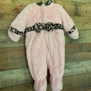 Rothschild pink and leopard hooded footie, 6-9mths